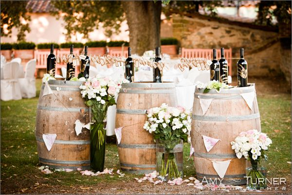 Another great use of wine barrels for a vineyard wedding