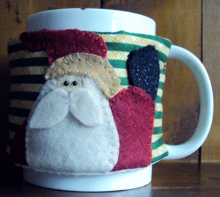$15.000 COP Forros navideños mugs, con clavos y canela para bebidas calientes