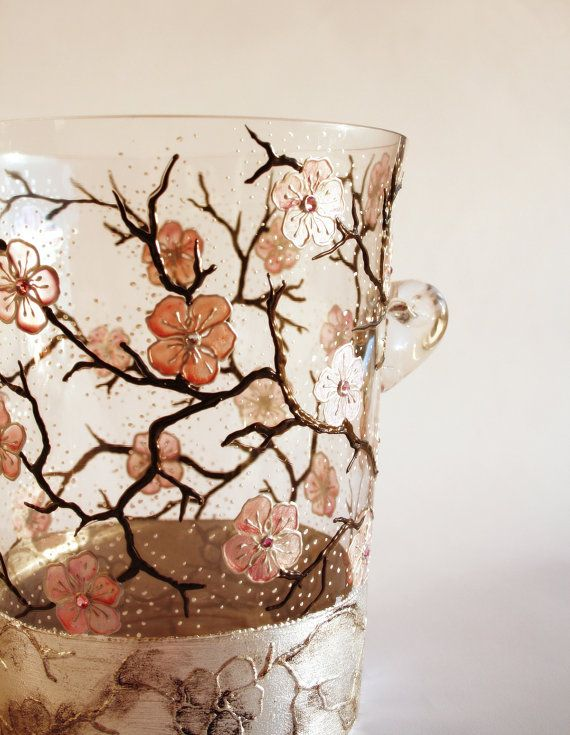 French Hand Painted Cherry Blossom Champagne Flutes