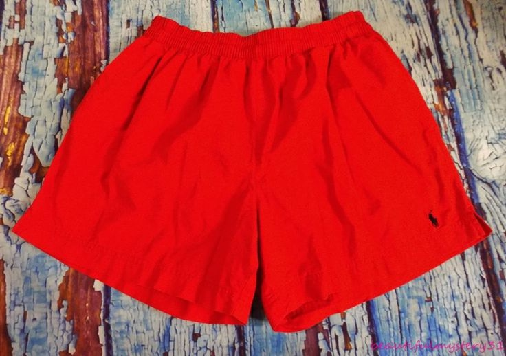 Polo By Ralph Lauren Vtg 90s Red Cotton Mesh Lined Navy Blue Pony Swim Shorts L | Clothing, Shoes & Accessories, Men's Clothing, Swimwear | eBay!