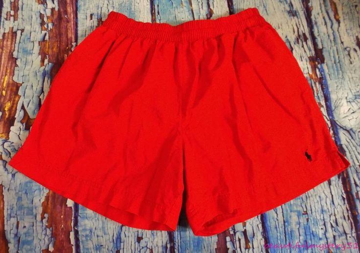 Polo By Ralph Lauren Vtg 90s Red Cotton Mesh Lined Navy Blue Pony Swim Shorts L #PoloByRalphLauren #Trunks