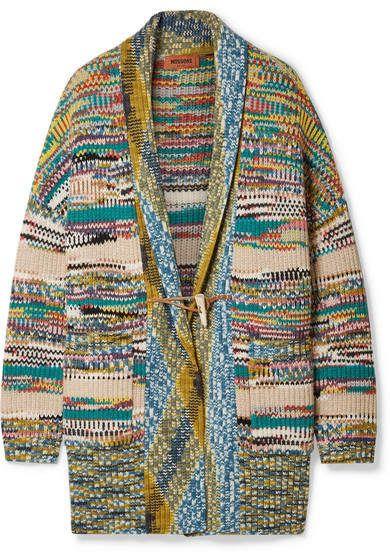Missoni Oversized Crochet-knit Wool-blend Cardigan - Blue  7d6ba2998