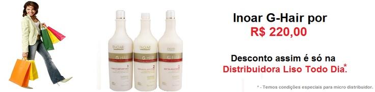 Distribuidora de produtos para cuidados com o cabelo: L'Oreal, Inoar, Nouar, Cadiveu, Portier, Madame Lis, ZAP, VIP, Fox e outras marcas líderes de mercado.    www.lisotododia.com.br/marcas/comprar-inoar/escova-progressiva-inoar-g-hair.html