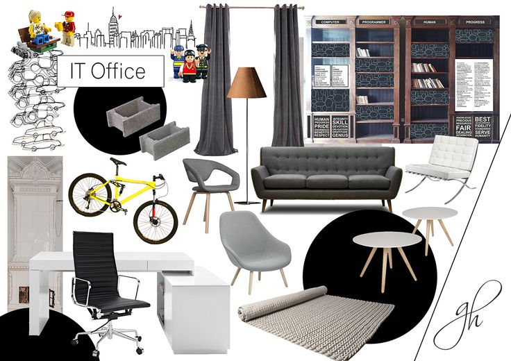 "Words usually fail miserably when trying to translate design concepts to our clients. That's why we use mood boards. This one reflects the ""IT Office: Modern meets Classic"" project, which you can find on my website, www.genovevahossu.ro."