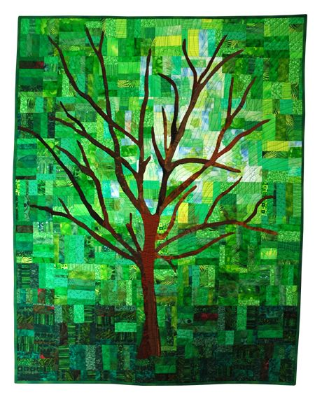"The inspiration for Katie's Xmas gift quilt - beige background, and 4 seasons of leaves in the 4 quadrants of the tree. A ""tree of life"" quilt"