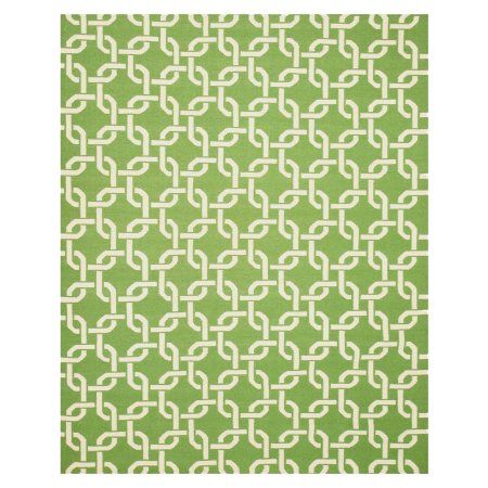 Eorc TLNK1GN Hand Woven Wool Links Dhurrie Rug, 7'9 x 9'9, Green