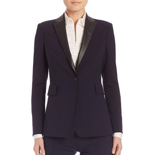 Akris punto Leather Detail Blazer (5,585 SAR) ❤ liked on Polyvore featuring outerwear, jackets, blazers, designer lifest - akris punto, lined leather jacket, leather lapel blazer, lapel jacket, real leather jackets and blazer jacket