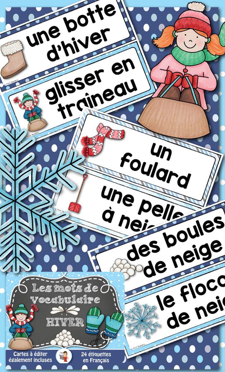 24 mots-étiquettes sur le thème de l'hiver colorés #murdesmots #5auquotidien #ateliers