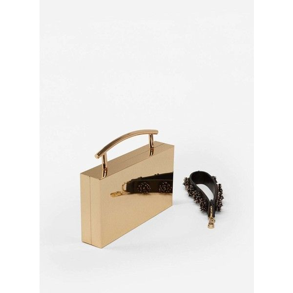 MANGO Metallic handle clutch (675 SEK) via Polyvore featuring bags, handbags, clutches, metallic handbags, mango handbags, white beaded purse, mango purse and beaded purse