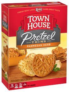 Keebler® Town House® Pretzel Thins Oven Baked Crackers Parmesan Herb