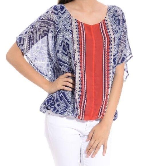 "Beautiful Aztec Batwing Blue Orange/Red Top Small This gorgeous flowy batwing top by Halo is 100% polyester for both the outer semi-sheer layer and the inside navy blue lining.  Has an elastic bottom and a pretty silver button at the top of the back, leaving a cute 2-3"" slit below it.  Size Small, and would also fit a Medium.  Machine washable, tumble dry low. New w/ Tags! Halo Tops"