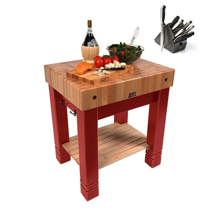 John Boos American Heritage Barn 30-inch x 24-inch Butchers Block Table CU-BB3024-BN & Bonus 13-piece Henckels Knife Set