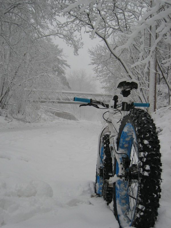 """Photo submitted by Kristin Riching, """"We got a ton of snow in Madison, WI, so I took my fat bike out for a ride along the city commuter trail."""""""