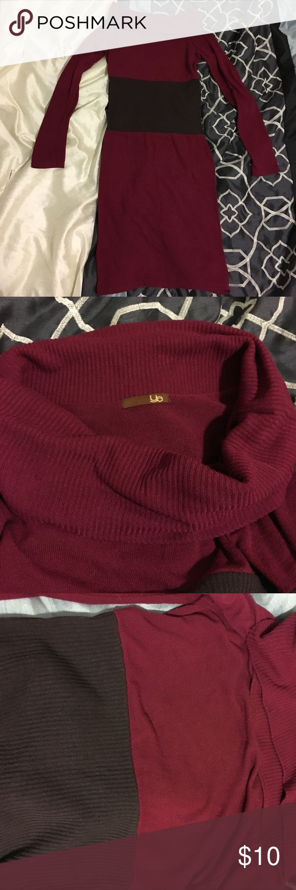NWOT Maroon and Brown Sweater Dress Stylish, maroon and brown sweater dress. Never worn and in brand new condition. Would be great for the office or a night out on the town. Ya Los Angeles Dresses Long Sleeve