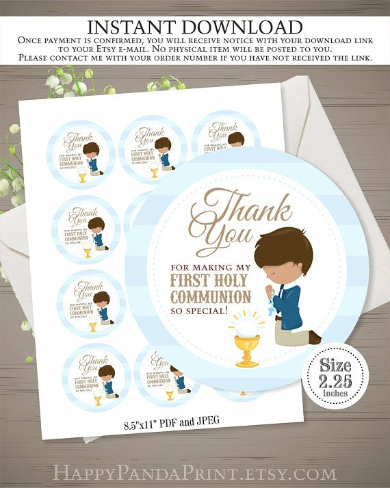 First Communion Tags INSTANT DOWNLOAD, Boy Communion Thank