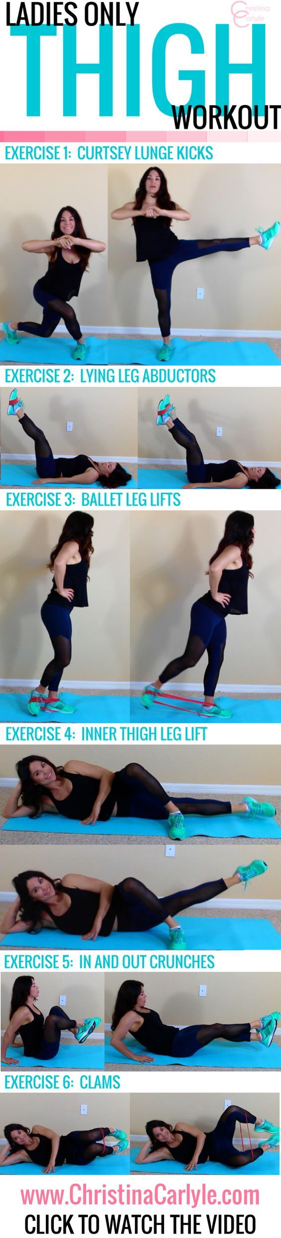 6 Inner Thigh Exercises - that will thin your thighs - and not build bulk. These inner thigh exercises make up a perfect thigh workout for women.