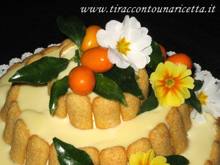 Una torta che sa di primavera, un multistrato di soffice Pan di Spagna con bagna canarino, farcito con deliziosa crema diplomatica ai fiori d'arancio e coperto con una lucente glassa al cioccolato bianco.