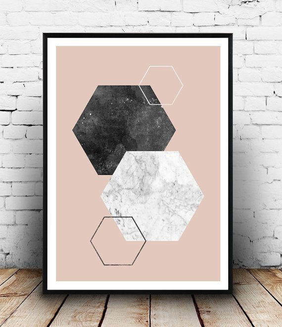 Geometric print Hexagon print Marble decor Pink and by Wallzilla