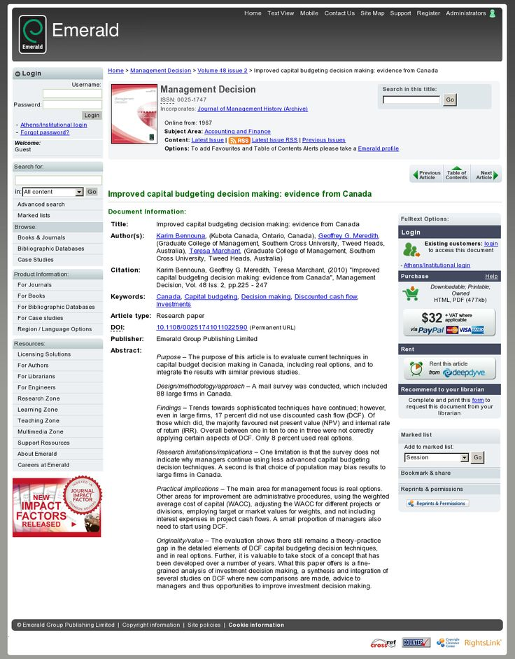 Best Capital Budgeting Practices and Errors in Capital Budgeting Techniques and Decisions >> Capital Budgeting Practices and Errors --> www.emeraldinsight.com/journals.htm?articleid=1845808