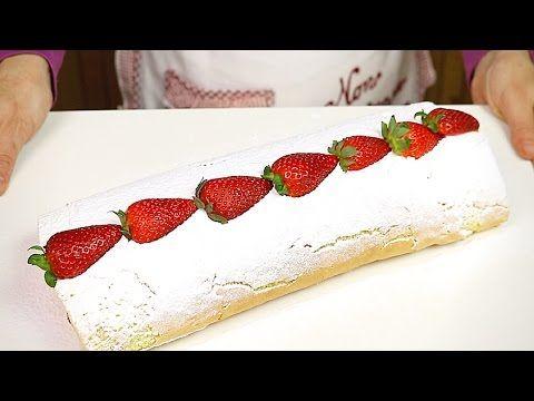 ROTOLO ALLE FRAGOLE E PANNA RICETTA FACILE - Strawberry Roll Cake Easy Recipe - YouTube