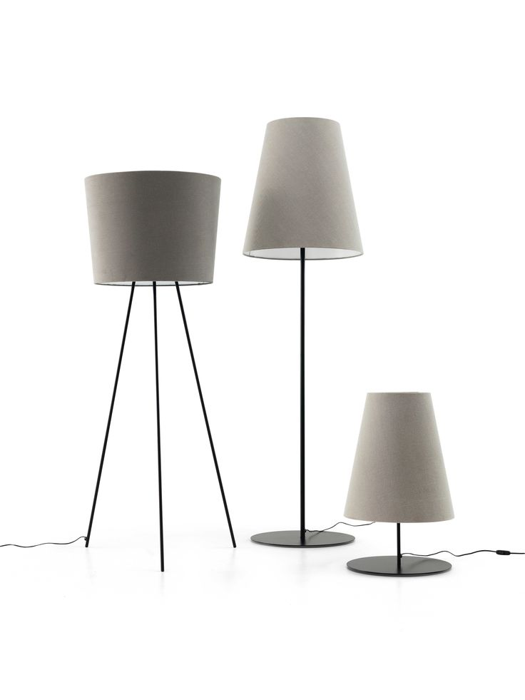 Floor Lamp Lamb With Three Stems And Lampshade In Emporio 046 Black Base.  Floor Lamp