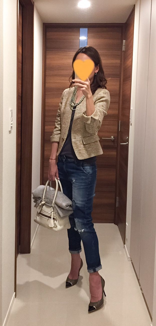Tweed jacket: NEWYORKER, Grey tee: Sisley, Denim: Sisley, White bag: J&M DAVIDSON, Heels: Jimmy Chop