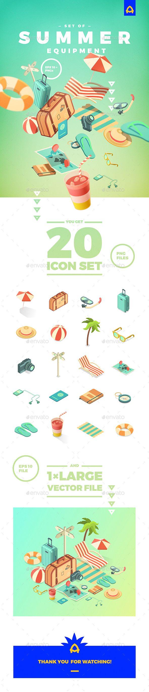 Set of Summer Equipment - Travel Conceptual