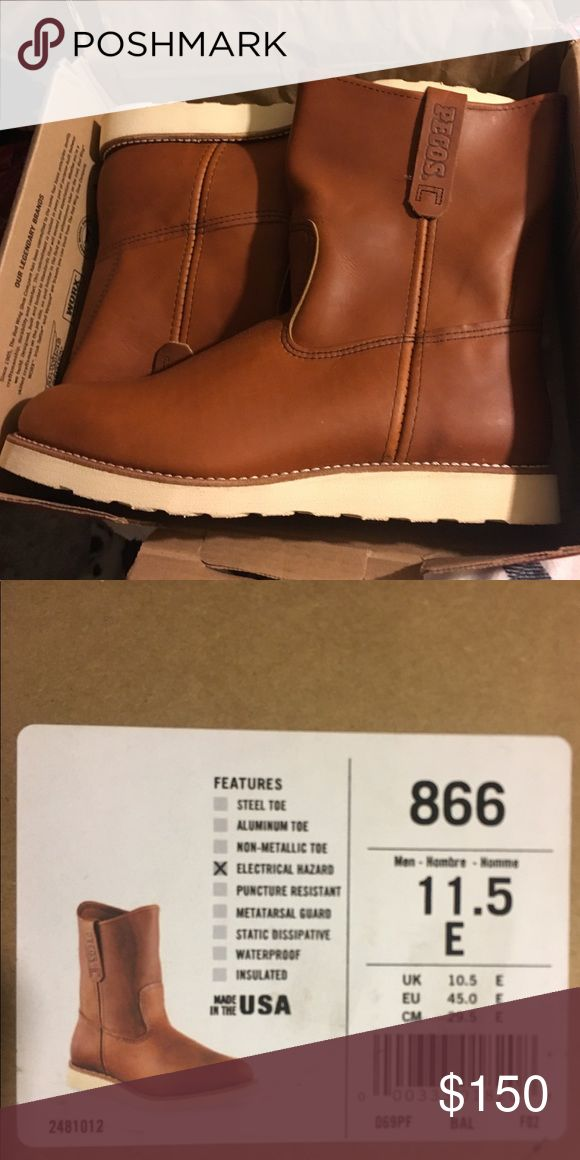 Brand New Men's Work Boots Brand New Red Wing Shoes Men's Traction Tred 9inch Pull On Boots! Brown Leather Size 11.5  Sell New for $250. Asking $150  http://www.redwingshoes.com/red-wing-shoe/866-red-wing-shoes/866-red-wing-mens-9-inch-pull-on-boot-brown Read Less Red Wing Shoes Shoes Boots