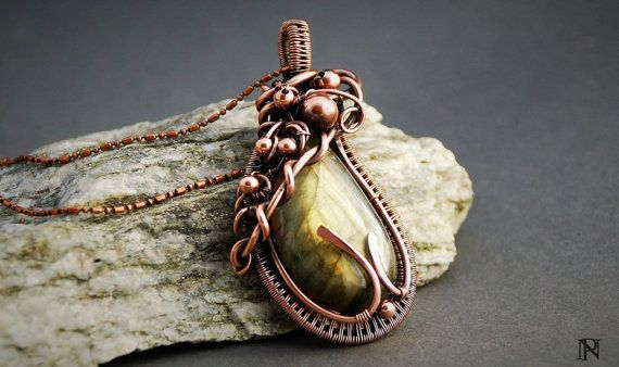 Wire wrapped copper pendant gorgeous labradorite christmas gift unique jewelry