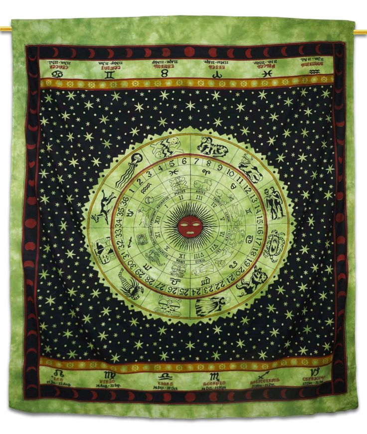 Beautiful Indian Screen Printed Cotton Astrology Print Tapestry or Bed Cover in Twin size. ..this is img