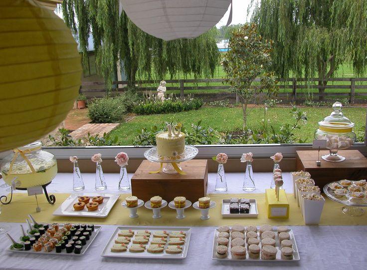 yellow & white - sweet & savory high tea desert table set up