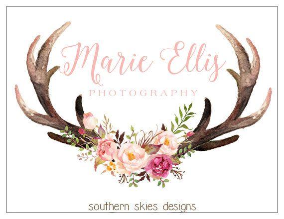 Pre-Made Logo  Antler Logo  Deer Logo  Flower by MySouthernCulture