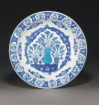 An Iznik Blue and White Pottery Dish, Ottoman Turkey, Circa 1530