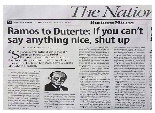 'If You Can't Say Anything Nice, Shut Up!' Ex-President Fidel V. Ramos Has A List Of Advice For Pres. Duterte