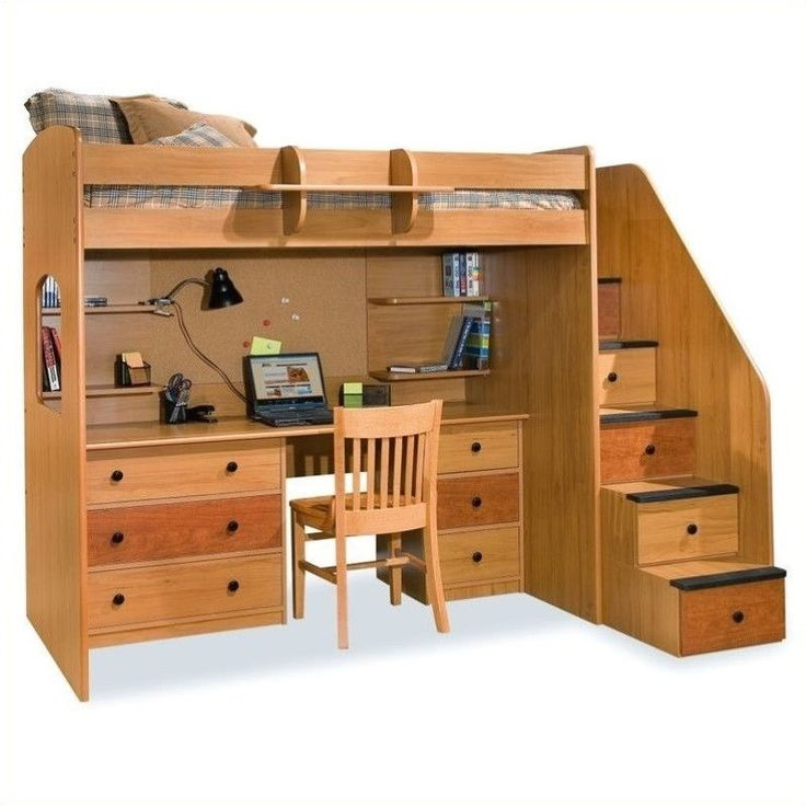 Lowest price online on all Berg Furniture Utica Lofts Twin Loft Bed with 5 Drawer Staircase - 23-835-XX