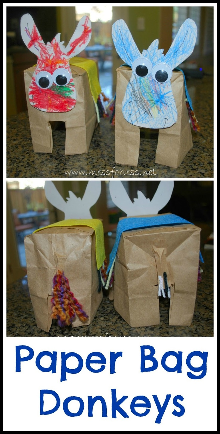 Mess For Less: Paper Bag Donkeys - Donkey Crafts for Kids Rain idea: a box inside and let the kids decorate the whole body as well. Also cut a hole in the top to make it more pinyata like and they could fill it with their treats or treasures