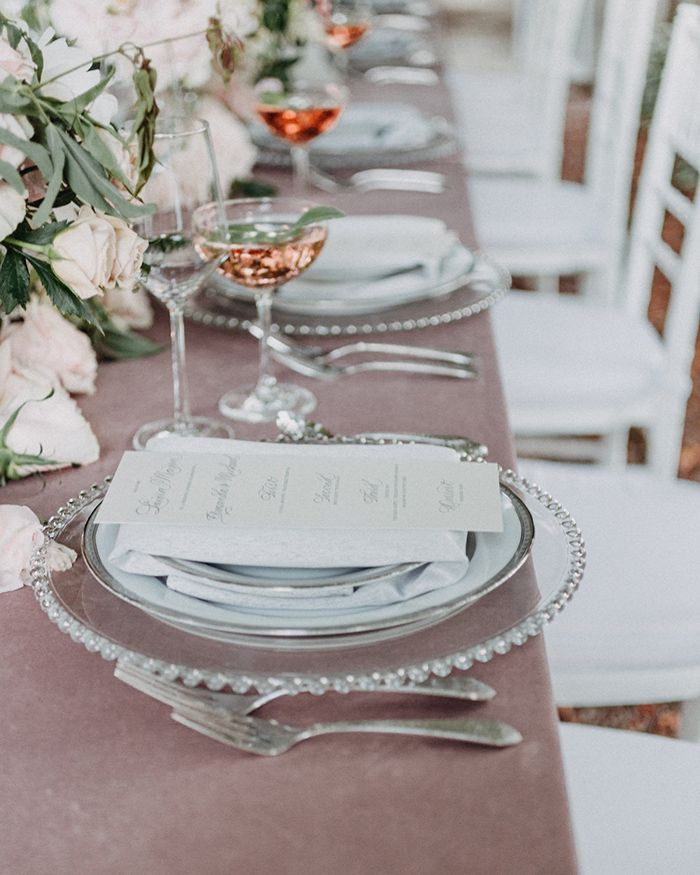 Silver and Mauve Wedding Decor