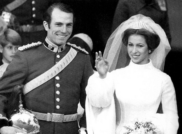 Princess Ann & Captain Mark Phillips on their wedding day in 1973.