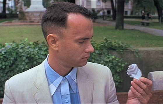"Real World: In ""Forrest Gump"" the feather is a sign of the Holy Spirit. It goes on a journey filled with dying and rising together."