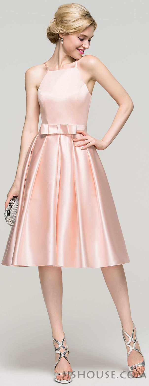 This A-line square neckline knee-length satin homecoming dress is so pretty, and you will be a fair lady in it. #JJsHouse