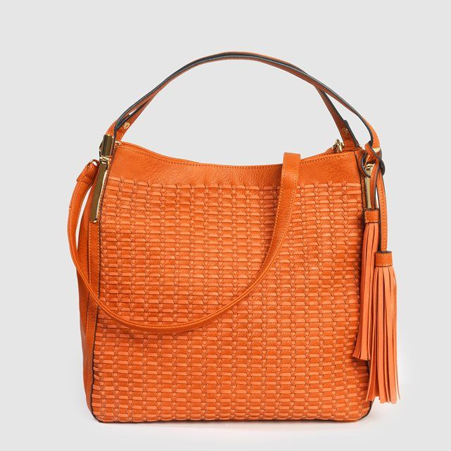 Woven Bag ANNE WEYBURN for La Redoute, £59. 2 inside pockets, 1 mobile phone pocket.Fabric: Synthetic outer.Lining: 100% polyester.Size :45 x 32 x 15cm