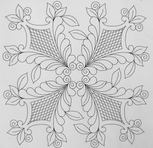 """16 1/2"""" Rosemaling Shields with Curved Cross-Hatching Design - The Quilting Connection, LLC."""