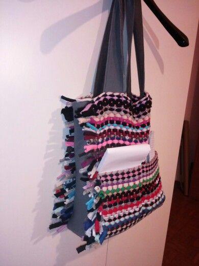 Con la macchina da cucire che ho preso ho cucito questa meravigliosa borsa in fettuccia, è una borsa con 2 tasche da una parte e una tasca grande dall'altra. Il lato delle frange ha un pezzo di stoffa( che è stata riciclata da una felpa) che continua sul fondo della borsa. Il fondo ha una plastica che è messa fra le due stoffe. Poi ho messo la fodera che si chiude a calamita e ha una tasca interna con cerniera. Vi piace? :) (Y) Il belo è che e realizzata con materiale del riciclo ;)