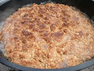 Next to a dump cake, here's just about the easiest dutch oven dessert you'll ever make.  Mix a package of oatmeal cookie mix (I used ...