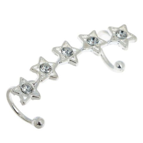 Shop trendy crystal star ear cuff available in silver and gold colour at MyBoho UK. Buy at discounted price and free shipping in UK. #Bohemian Jewellery #BohoEarrings