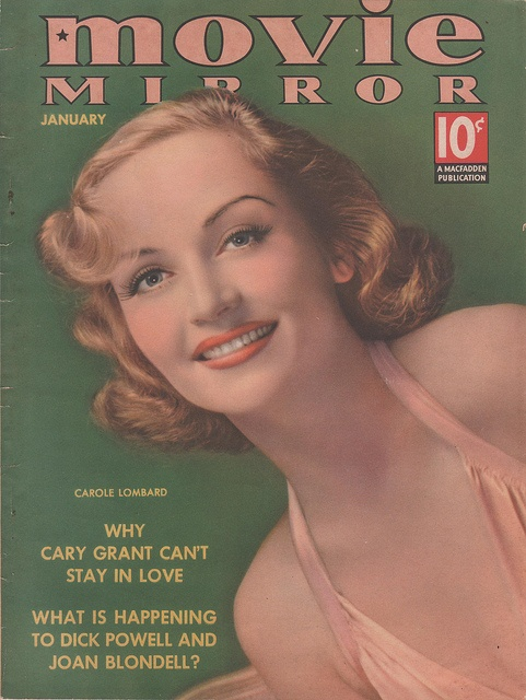 A sweet-faced, completely pretty young Carole Lombard on the cover of Movie Mirror magazine in 1938.
