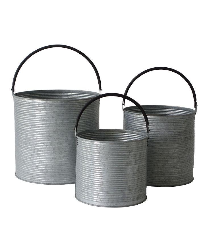 Metal Cylinder Bucket Set