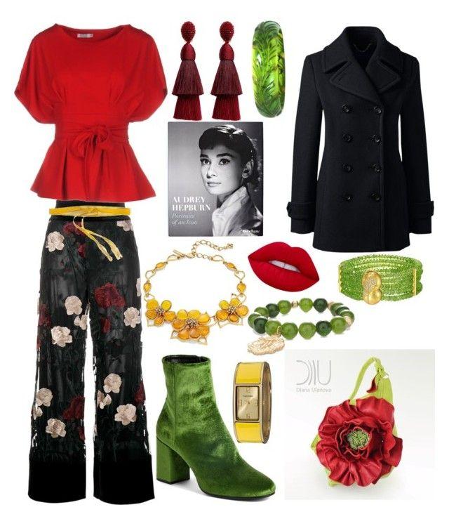 """Spring Outfit"" by hellenrose7292 on Polyvore featuring Ganni, Brigitte Bardot, Oscar de la Renta, Chico's, Balenciaga, Lands' End, Vernier, Lime Crime, KI6? Who Are You? and Rizzoli Publishing"