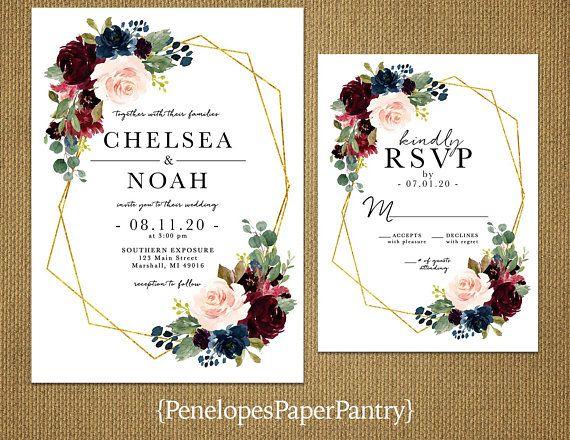 Elegant Floral Geometric Frame Fall Wedding Invitation,Burgundy,Blush,Navy,Roses,Gold Print,Shimmery,Printed Invitation,Wedding Set,Custom