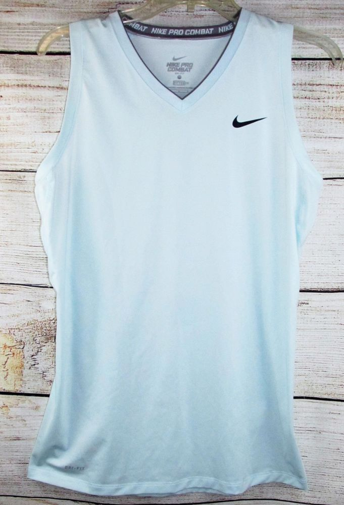 f1297f133c04c Nike womens Shirt L LARGE Dri-Fit Performance Blue Pro Combat Fitted  Sleeveless  Nike  ActivewearTank